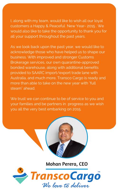 Transco Cargo CEO Mohan Perera NewYear Wishes